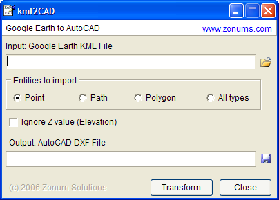 Kml2cad for Dwg to kmz converter